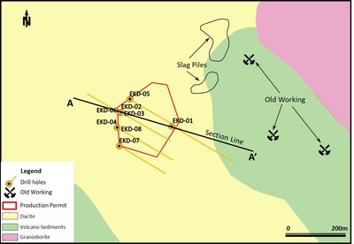 Figure 2. Copper Hill simplified geology map and drill locations. (CNW Group/Alacer Gold Corp.)
