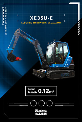 XE35U-E, electric excavator with Cummins electric powertrain customized for mini excavators, Launched at CONEXPO 2020, has zero-emission.