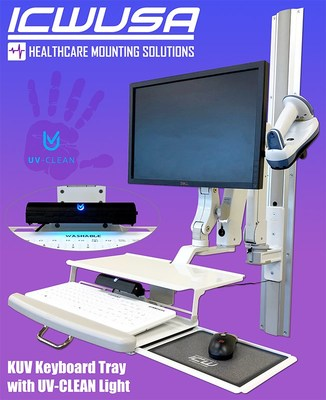 ICWUSA's KUV Keyboard Tray equipped with Proximity System's self-disinfecting UV-CLEAN Light.