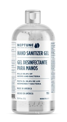 Neptune Wellness Solutions 1 Liter Hand Sanitizer Gel kills 99.9% of germs and bacteria (CNW Group/Neptune Wellness Solutions Inc.)