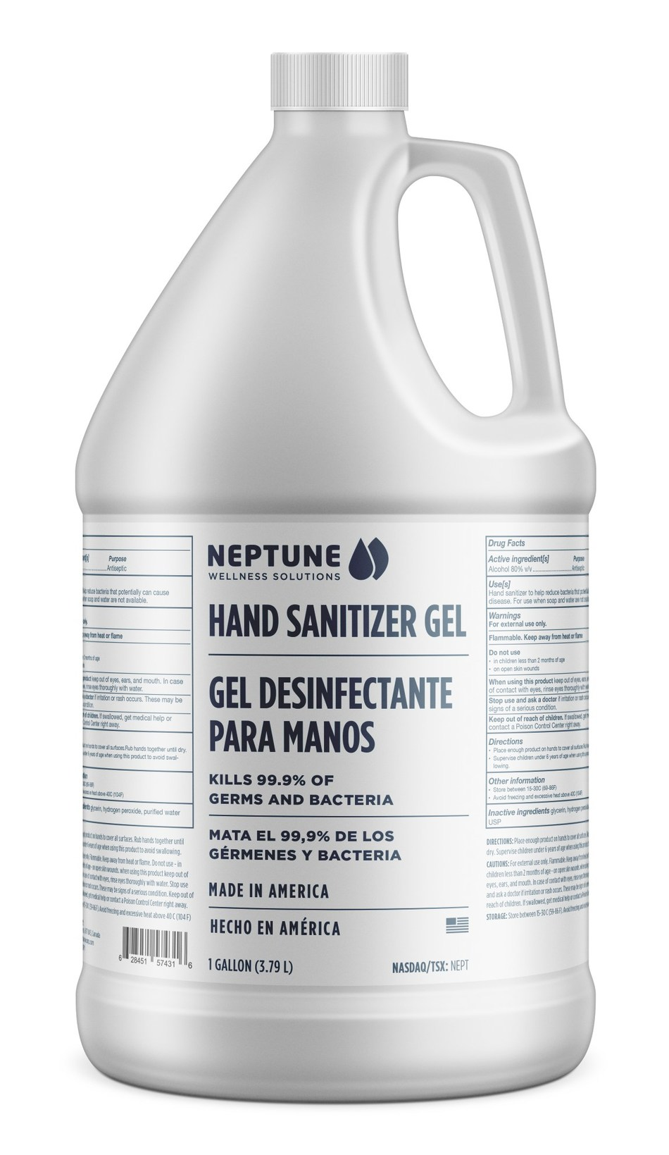 Neptune Wellness Solutions 1 Gallon Hand Sanitizer Gel kills 99.9% of germs and bacteria (CNW Group/Neptune Wellness Solutions Inc.)