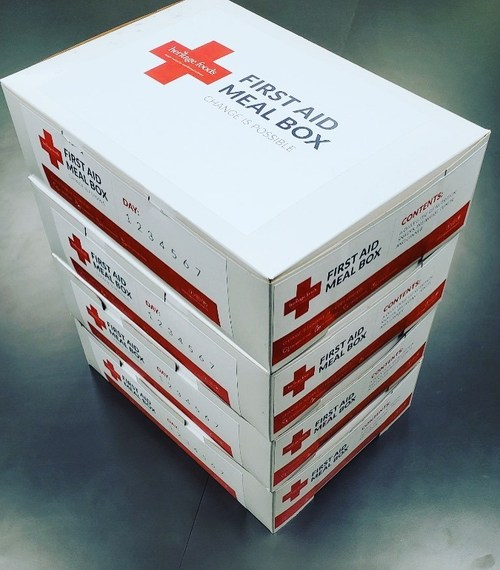 A stack of our First Aid Meal Boxes headed to Ivinson Memorial Hospital in Laramie.