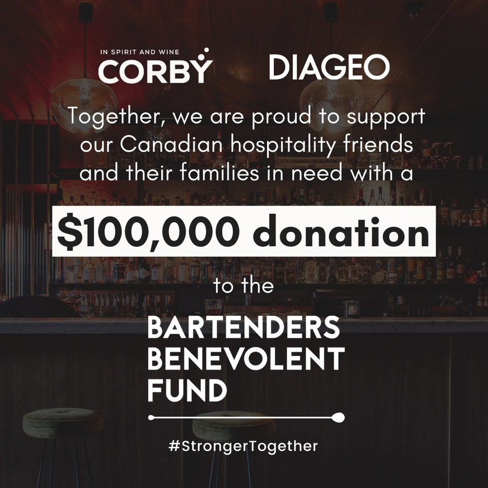 Corby Spirit and Wine and Diageo Canada Banding Together to Support Hospitality Workers Displaced by COVID-19 Closures (CNW Group/Corby Spirit and Wine Communications)