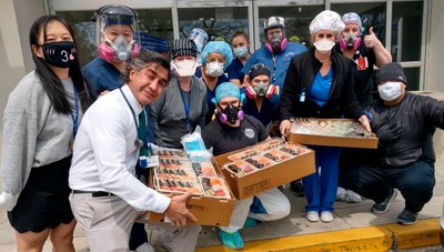 Coney Island Hospital staff receive their delivery from Kissaki Omakase