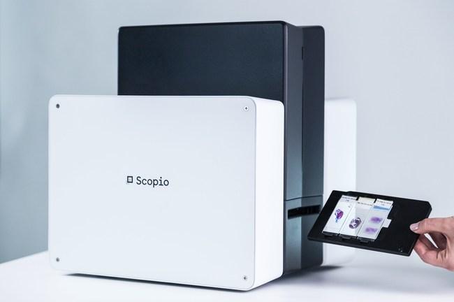 Scopio Labs disruptive digital microscopy platform, the X100 pictured here (PRNewsfoto/Scopio Labs)