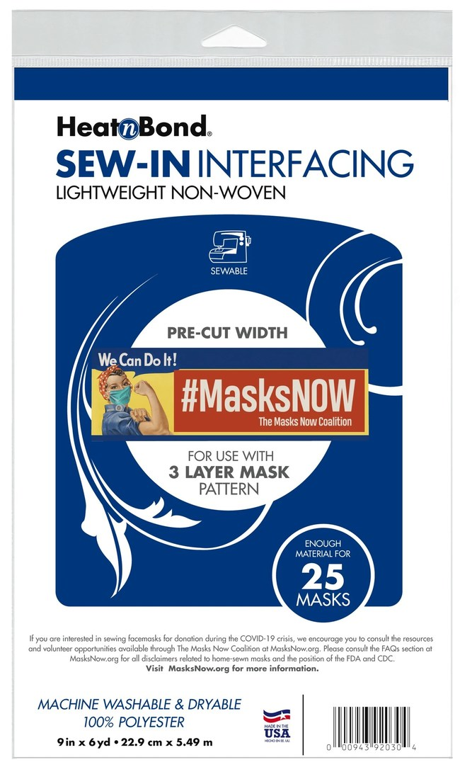 Working closely with The Masks Now Coalition, Therm O Web (the manufacturers of HeatnBond brand products) has developed this new interfacing for use in the MasksNow.org 3-Layer Mask Pattern from Created for Crisis, as well as other patterns that call for lightweight 100% polyester nonwoven, sew-in interfacing. Text 'masks' to 50409 to volunteer sewing or to make a nonprofit deductible donation to the Masks Now Coalition.