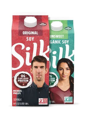 Michael Phelps and Aly Raisman will grace the front of Silk Soymilk cartons hitting shelves this May.