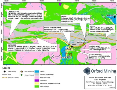 Figure 1: Regional Geology and Projects in proximity to the Joutel South and McClure East Properties(5) (CNW Group/Orford Mining Corporation)