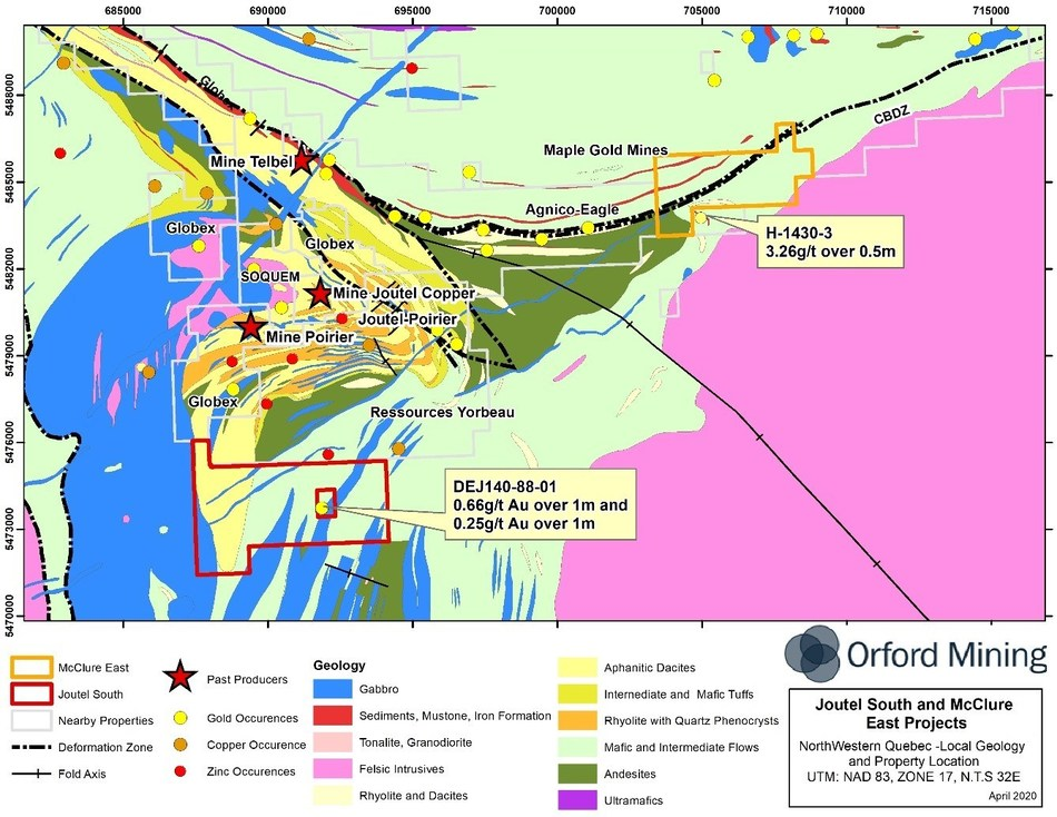Figure 2: Local Geology of the Joutel South and McClure East Properties(6) (CNW Group/Orford Mining Corporation)