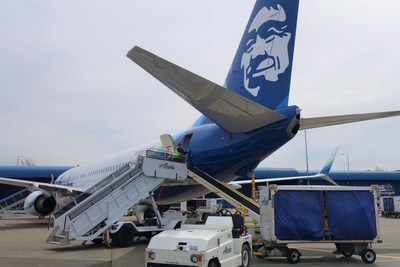 Alaska Air Cargo tests loading freight into the passenger cabin of an Alaska Airlines 737-900 in Seattle. Alaska will be utilizing passenger jets as freighter only aircraft to maximize critical cargo shipments of essential goods.