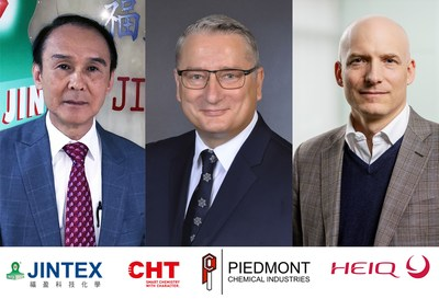 David Juang (Jintex), Ralf Kattanek (CHT) and Carlo Centonze (HeiQ), (image provided by HeiQ)