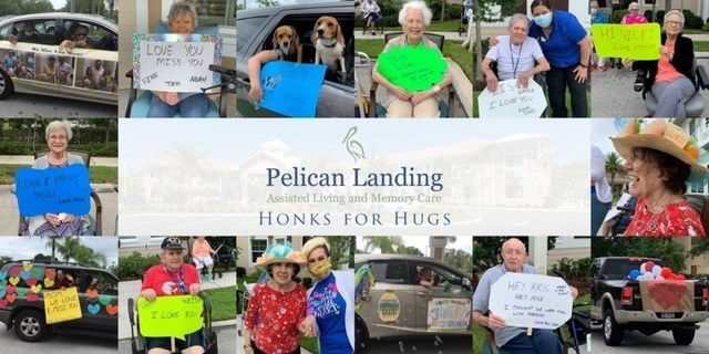 Honks and cheers brought joy and connection to the residents of Pelican Landing Assisted Living and Memory Care as dozens of family, friends and first responders cruised by the community to 'see' their loved ones  during the 'Honks for Hugs' parade in Sebastian, Florida.