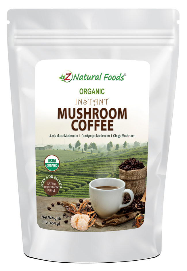 Organic Instant Mushroom Coffee is a blend of organic dark Columbian coffee, organic coconut milk, organic chaga, organic lion's mane and organic cordyceps mushrooms