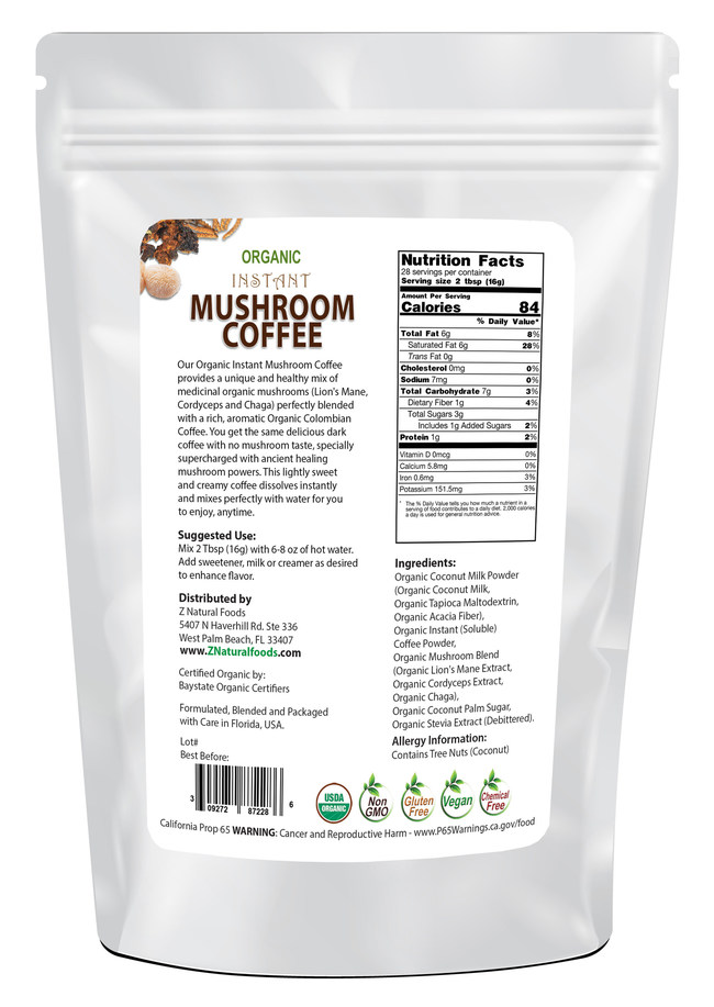 Z Natural Foods' announced their newest functional superfood beverage, Organic Instant Mushroom Coffee