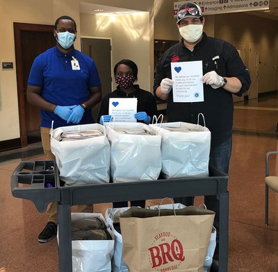 (BATON ROUGE, La.) Hancock Whitney was proud to support BRQ Restaurant in Baton Rouge, Louisiana, while serving #HealthcareHeroes on the COVID-19 front lines at Baton Rouge General's Bluebonnet Campus.