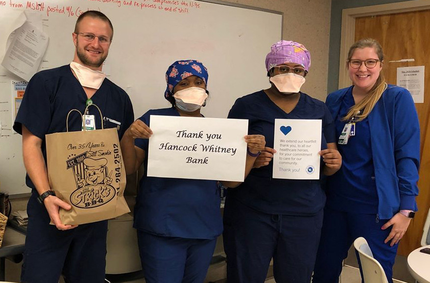 (HATTIESBURG, Miss.) Hancock Whitney provided meals to #HealthcareHeroes across the bank's footprint, including Hattiesburg, Mississippi, where the bank partnered with Strick's BBQ Restaurant & Catering to feed Forrest General Hospital ER teams.