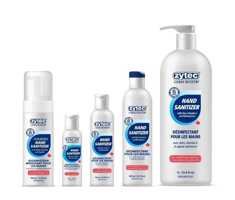Makers of zytec® Germ Buster® ramp up hand sanitizer production to keep up with increased demand for essential product (CNW Group/zytec® Germ Buster®)