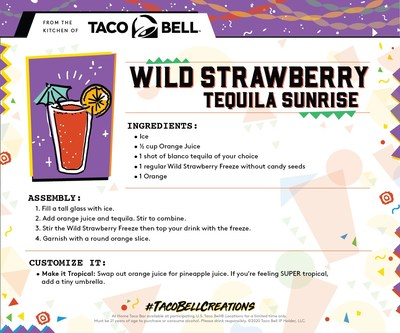 Fans looking to spice up their virtual or at-home Cinco de Mayo parties can stir up the Wild Strawberry Tequila Sunrise by following Taco Bell's step-by-step recipe card.