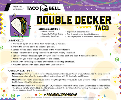 To help inspire the inner chef in us all, Taco Bell is rolling out a series of recipe cards straight from the Taco Bell Test Kitchen. The cards provide step-by-step instructions on how to use the ingredients to whip up beloved favorites from the past, like the Double-Decker Taco.