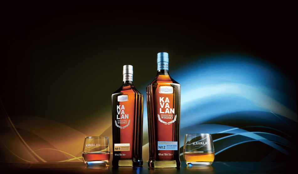"With its rich earth color, the Taipei 101-shaped bottle for the Kavalan Distillery Select Series symbolizes the foundational core strengths of Kavalan's cask selection and blending art. On the left, ""Kavalan Distillery Select No. 1,"" is rich in fruitiness intertwined with cream and toffee notes. On the right, ""Kavalan Distillery Select No. 2"" blends floral and herbal notes, mature woodiness and warm spiciness. (PRNewsfoto/Kavalan)"