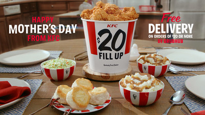 Since 1952, KFC has been bringing families together for Mother's Day with a bucket of the Colonel's famous fried chicken. To continue the tradition, send mom a classic KFC $20 Fill Up to enjoy during your (virtual) date, or send her food for today and tomorrow, with a $30 Fill Up. For a limited time, delivery is free for orders over $20.