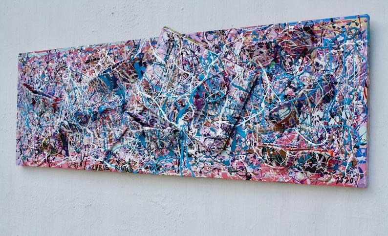 """36"""" x 12"""" x 1"""" Chris Riggs X ePromos Promotional Products abstract expressionism painting sculpture. As part of the #ePromosCares Mission, ePromos joins forces with artist Chris Riggs to create beautiful works of promo art using what would otherwise be trash. At a time when our country is still in quarantine, the purpose was to inspire families to create their own versions using the """"reduce, reuse, recycle"""" principles. A portion of the proceeds will be donated to The Boys & Girls Clubs of America's COVID-19 relief fund in honor of #GivingTuesdayNow on May 5."""