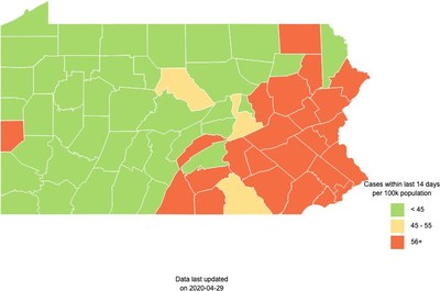 Pennsylvania: New COVID-19 CASES by County as of 4-29-20