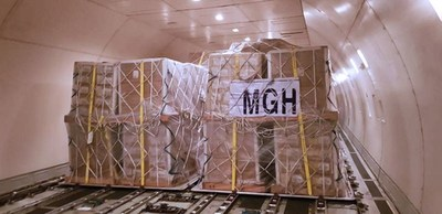 MGH operated cargo loaded on a weekly freighter