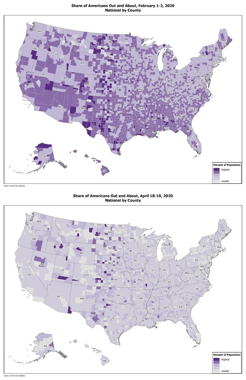 Using mobile movement data to look at Americans' out-and-about behavior by county in early February versus late April. (CNW Group/Environics Analytics)