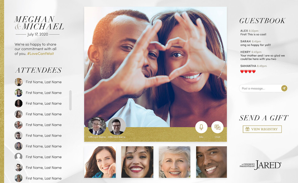 Jared's virtual platform will provide couples with a safe way to express their love through the ability to design a custom wedding experience that will closely mirror that of a live in-person event.