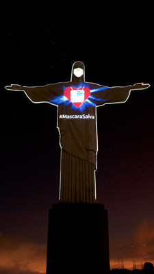 "Christ the Redeemer gets mask to encourage the world protect against Covid-19"" – Manu Silva"