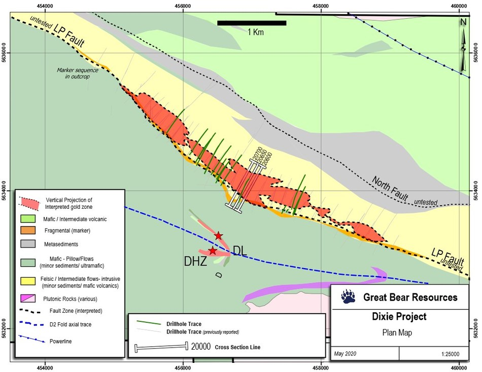Figure 1: Location of drill sections provided as figures in this release. (CNW Group/Great Bear Resources Ltd.)
