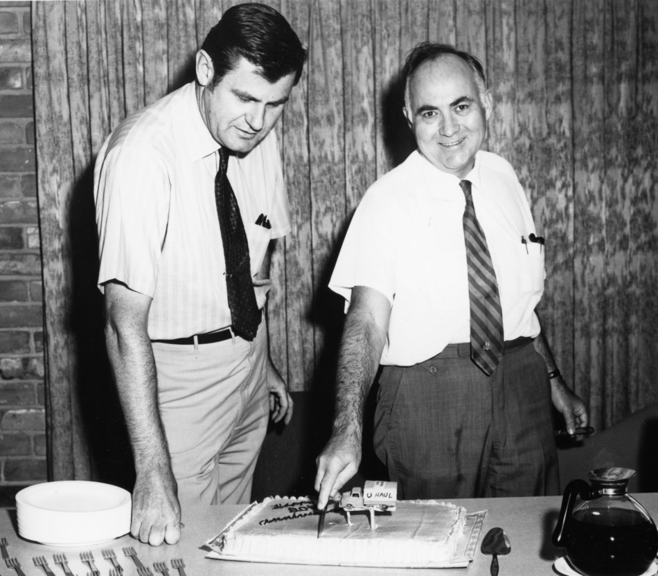 """Ralph Shivers (left) and U-Haul co-founder L.S. """"Sam"""" Shoen in 1970. Shivers served on the USS Craven, a Gridley-class destroyer, during and after WWII."""
