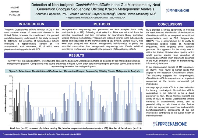 Detection of Clostridioides difficile by Next Generation Shotgun Sequencing Utilizing Kraken Metagenomic Analysis, presented by Progenabiome at Digestive Disease Week (DDW) 2020 ePosters and ePapers site