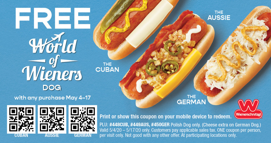 For a limited time, get one of Wienerschnitzel's new internationally-inspired dogs FREE when you redeem coupon.