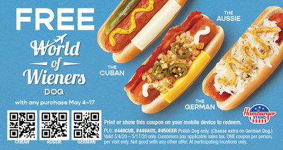 For a limited time, get one of Hamburger Stand's new internationally-inspired dogs FREE with purchase when you redeem coupon