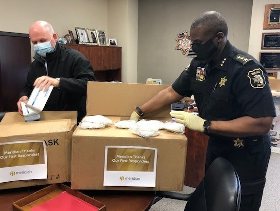 On May 4, Meridian Plan President and CEO Sean Kendall delivered PPE to the Wayne County Sheriff's Office.