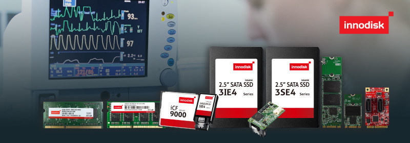 Innovative medical-grade solutions from across Innodisk's DRAM, flash storage, and embedded peripheral product lines provide the performance, stability, as well as the cutting-edge features and technologies required by demanding healthcare applications.