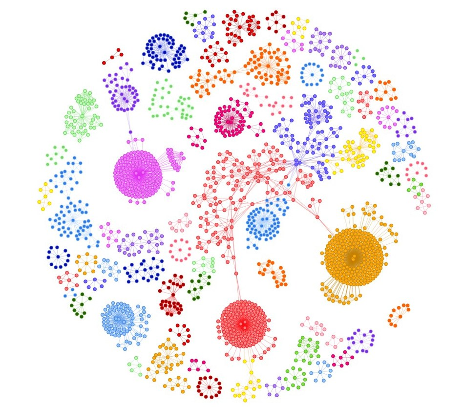 Disease architecture of the sepsis cohort generated by the PrecisionLife platform. Each circle represents a disease associated SNP genotype, edges represent co-association in patients, and colors represent distinct patient sub-populations or 'communities'.