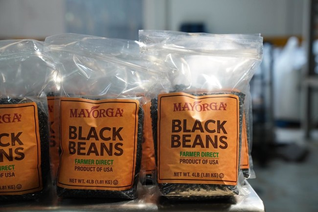 Mayorga black beans packaged and ready to be donated
