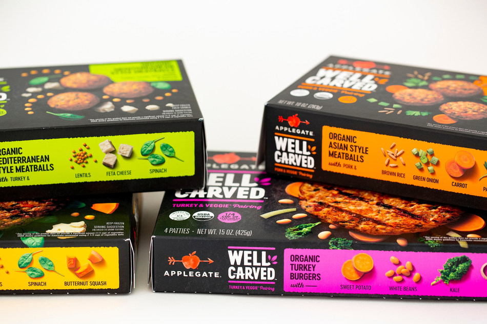 The chef-crafted WELL CARVED™ product line combines Applegate humanely raised meat with organic, whole vegetables, legumes and grains.