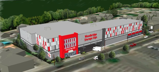 The forthcoming Woodbridge Self-Storage complex in Perth Amboy, NJ, as seen in a rendering created by the Butz Wilbern architecture and planning firm and PSG, an architecture company.