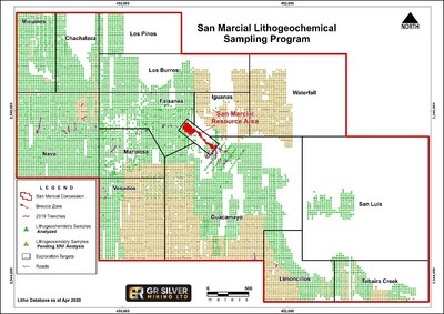 Figure 4: San Marcial Targets – Litho-geochemical Sampling Coverage and 2020 Drill Holes (CNW Group/GR Silver Mining Ltd.)