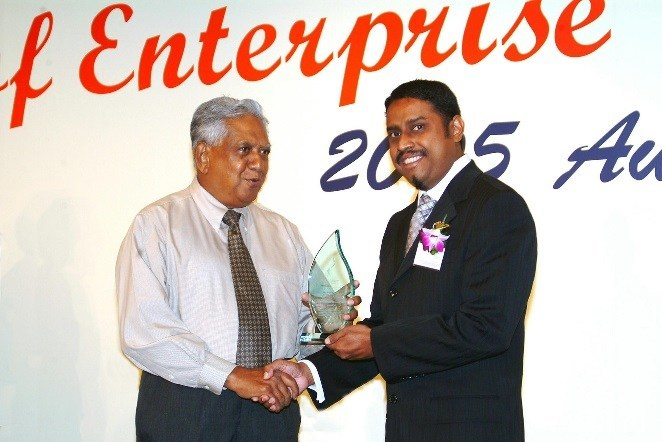 fyr, receiving the honorary 'Spirit of Enterprise' award from the late President of Singapore Mr. S.R.Nathan for his radio show syndication and contribution to the corporate events industry in 2005.