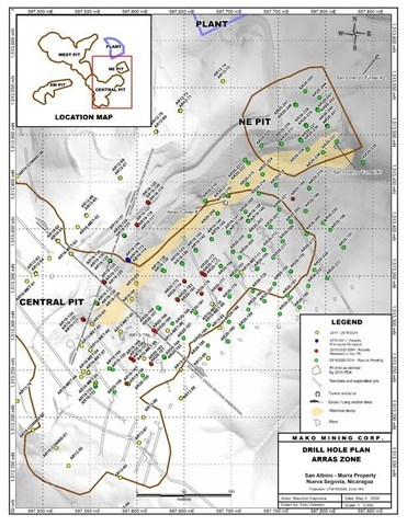 Drill Hole Plan - Arras (CNW Group/Mako Mining Corp.)