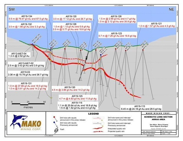 Schematic Long Section - Arras (CNW Group/Mako Mining Corp.)