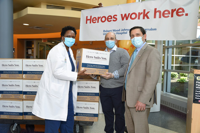 Joseph Abboud brand delivers 2,000 meals to frontline healthcare workers at Robert Wood Johnson University Hospital in New Jersey. Credit: Michael Simon