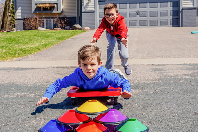 Home PE includes 200+ activity ideas and unique equipment to keep kids active at home while schools, summer camps, and after-school activities are canceled.