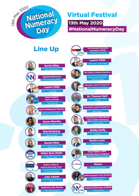 National Numeracy Day Virtual Festival Lineup (PRNewsfoto/National Numeracy)