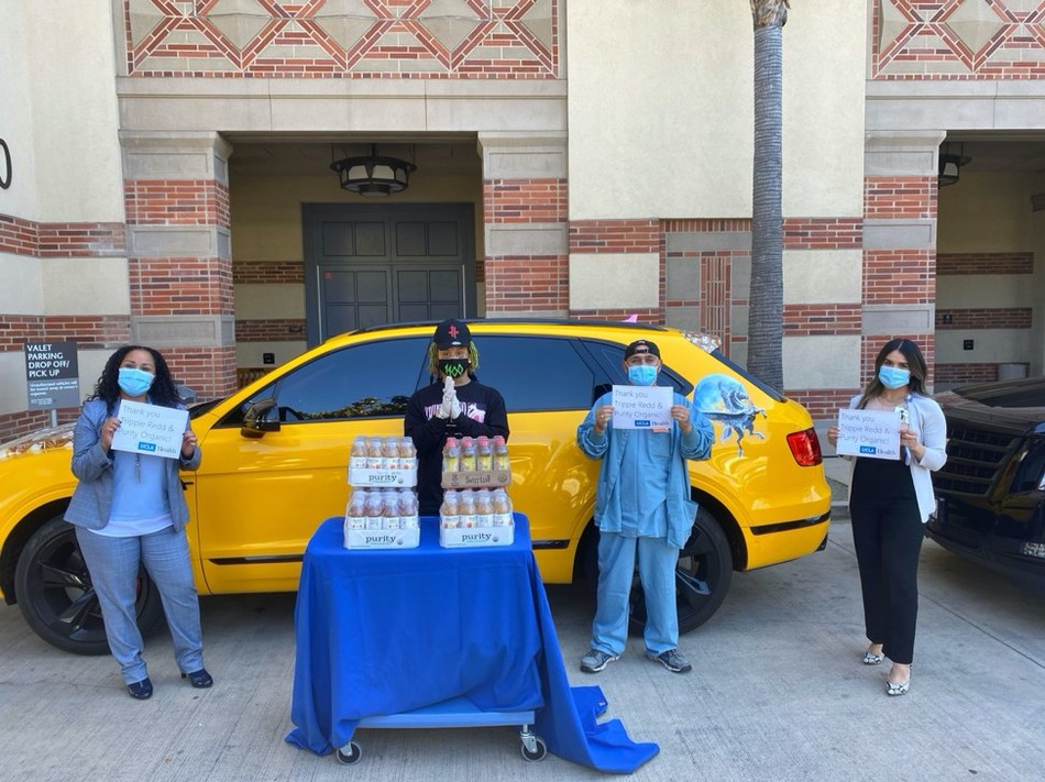 Trippie Redd drops off a donation of organic beverages to healthcare workers on the frontline of the COVID-19 pandemic at UCLA Medical Center, Santa Monica